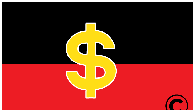 A non-aboriginal business has licensed the copyright on Australia's aboriginal flag, and are making copyright claims against aboriginal businesses