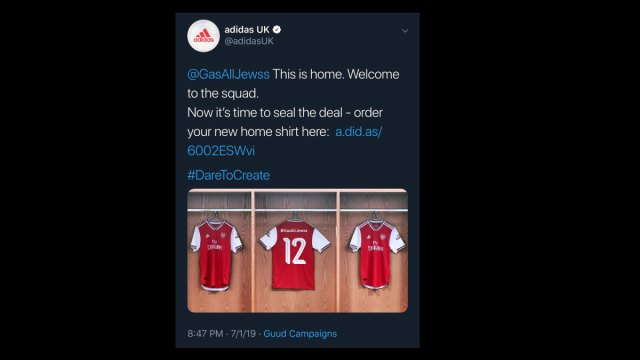 """Adidas posts """"Gas All Jews"""" tweet after turning account over to hashtag-parrotting ad bot"""