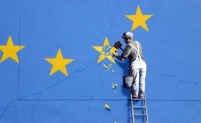 "Banksy celebrates the erasure of his Brexit mural: ""I guess a big white flag says it just as well"""