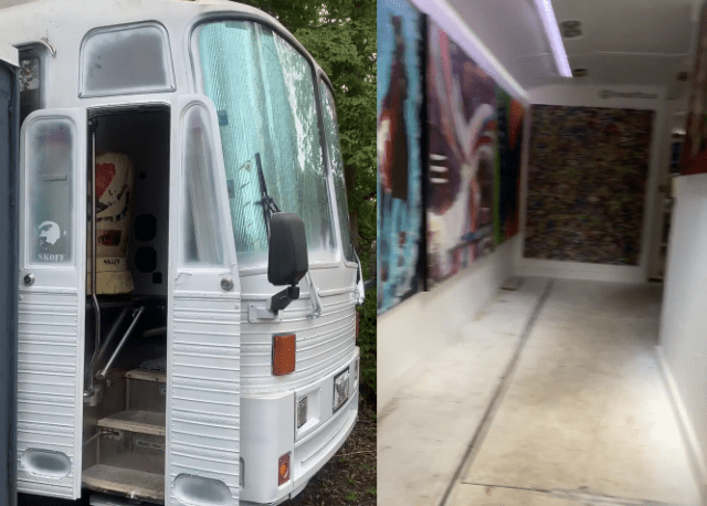 Bus converted into mobile art gallery