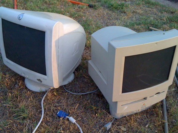 Photo of CRT monitor and an old CRT Macintosh