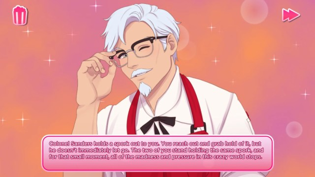 Dating game featuring anime Colonel Sanders not so fresh