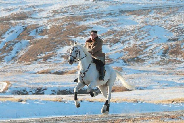 Photos of Kim Jong-un on horseback