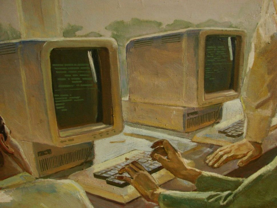 Splendid Soviet painting of classroom computers is yours for $2500 1