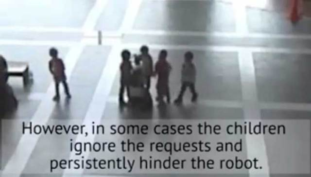 Mall robot is programmed to detect when kids are about to bully it, and take evasive action