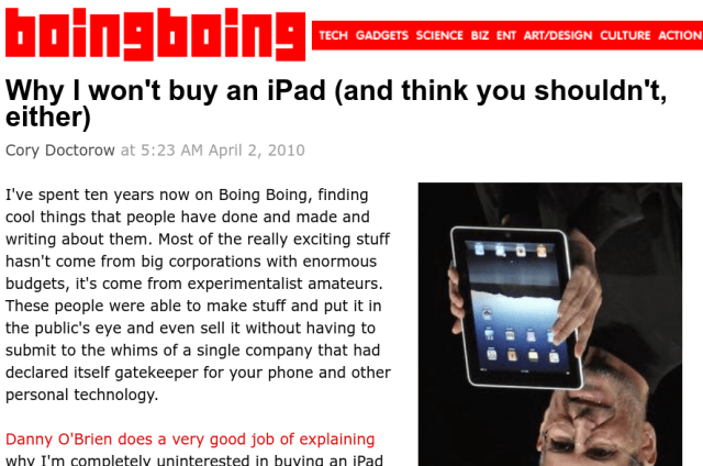Why I won't buy an Ipad: ten years later