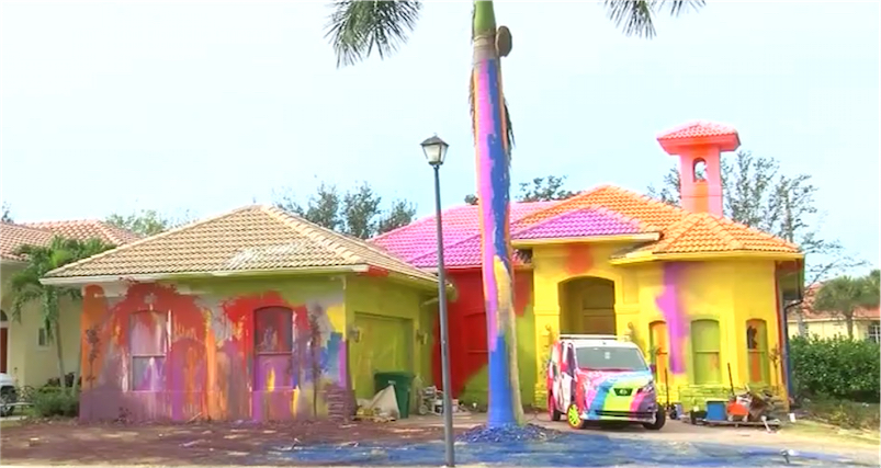 Neighbors sue over Florida man's wild multicolored, spray-painted home