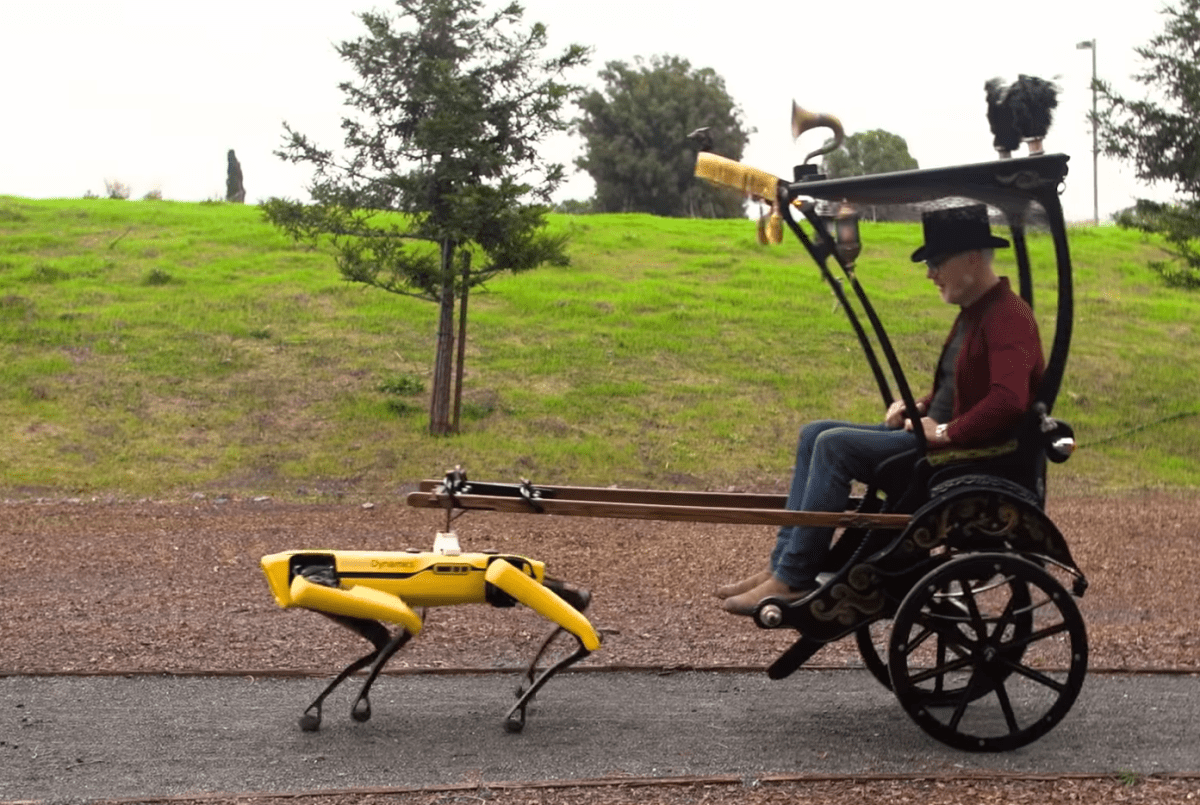 Adam Savage builds a steampunk rickshaw to be pulled by a Boston Dynamics robot