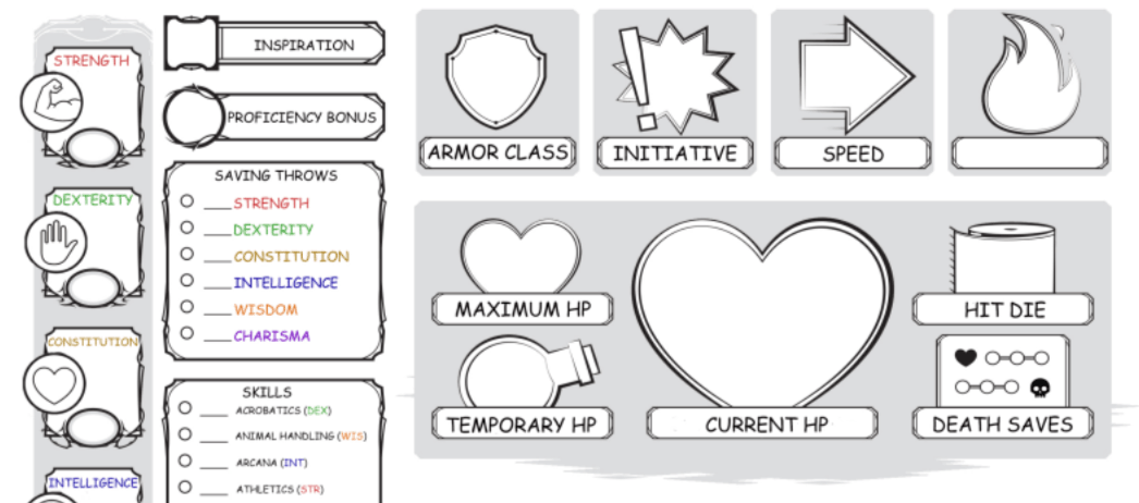 Download these free D&D character sheets designed to help players with dyslexia