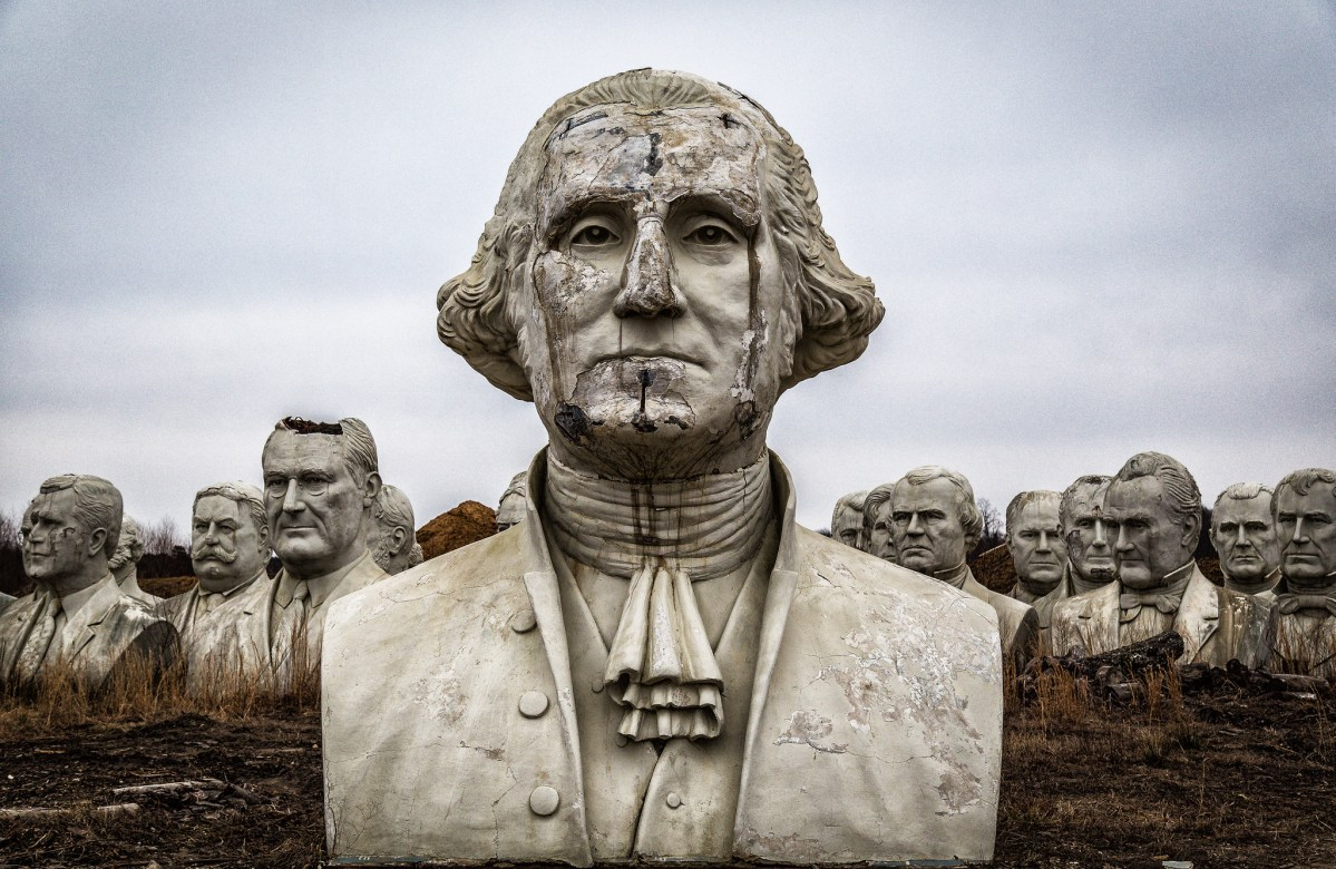 There are 43 giant stone Presidential heads crumbling in a field in Virginia
