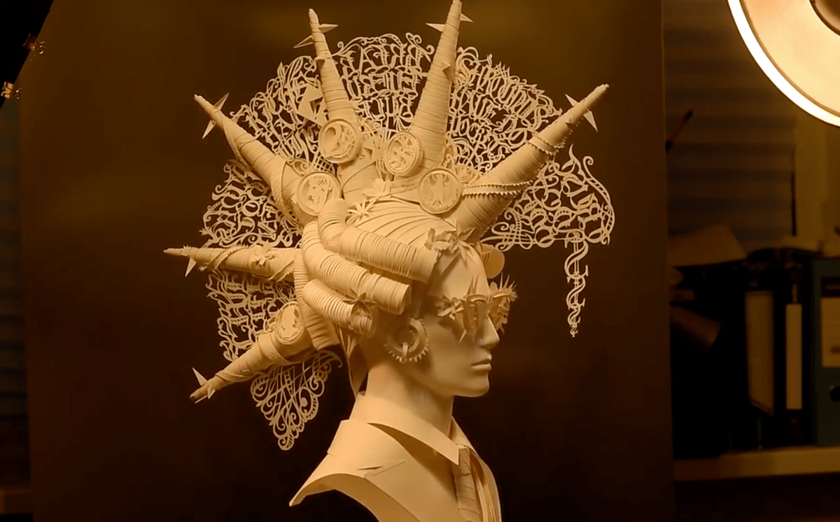 Baroque punk papercraft bust by Asya and Dmitry Kozins