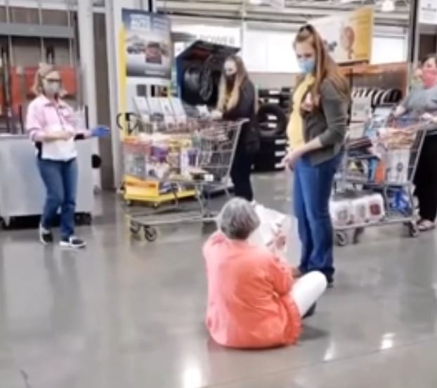Unmasked shopper asserts constitutional right to sit on the floor in Costco