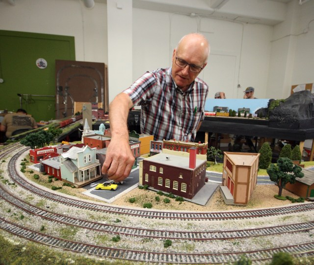 Brandon Hills Model Railway Club Member Tony Devliegere Tinkers With The Clubs Main Model During Their
