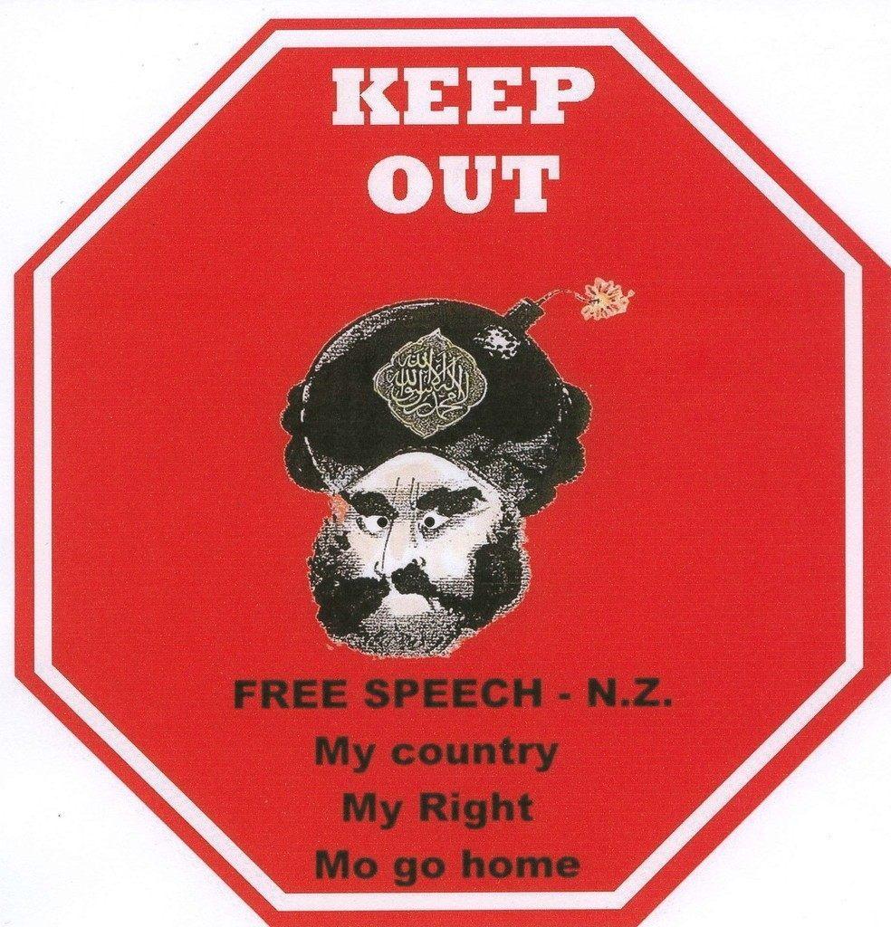 """Keep Out NZ Free Speech"" - Podrig Oshaunasey"