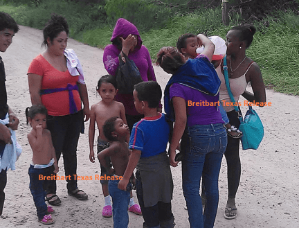 Immigrant family members captured after crossing Texas Border. (Photo: Breitbart Texas leaked image)