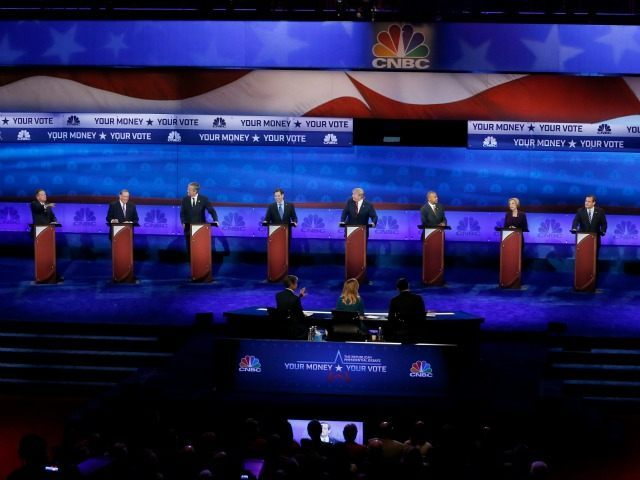 Republican presidential candidates, from left, John Kasich, Mike Huckabee, Jeb Bush, Marco Rubio, Donald Trump, Ben Carson appear during the CNBC Republican presidential debate at the University of Colorado, Wednesday, Oct. 28, 2015, in Boulder, Colo.
