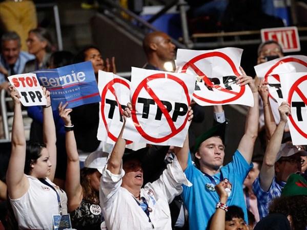 Stop-TPP-Signs-Bernie-Sanders-Delegates-DNC-Getty