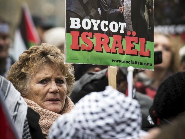 Demonstrators hold signs saying 'No Dutch support for apartheid in Palestine. Boycott Israel' during a protest in Amsterdam on November 17, 2012 against the Israeli air strikes on Palestinian targets in the Gaza Strip. AFP PHOTO / ANP / ERIK VAN ' T WOUD netherlands out (Photo credit should read ERIK VAN 'T WOUD/AFP/Getty Images)