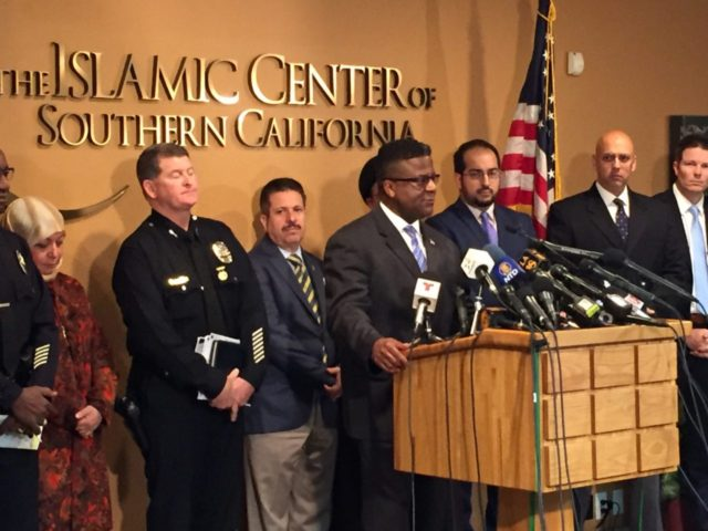 Islamic Center of Southern California hate letters conference (Joel Pollak / Breitbart News)