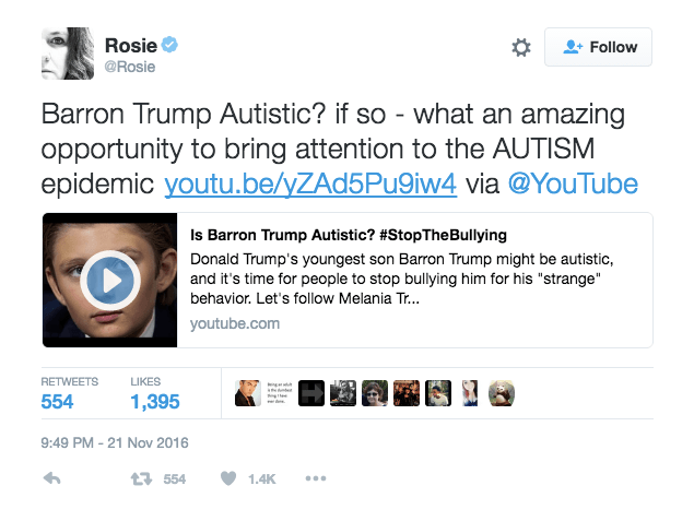 Image result for @ROSIE BARRON TRUMP AUTISTIC tweet
