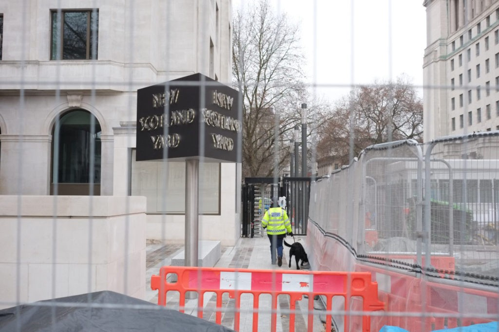 Sniffer dog carries out searches