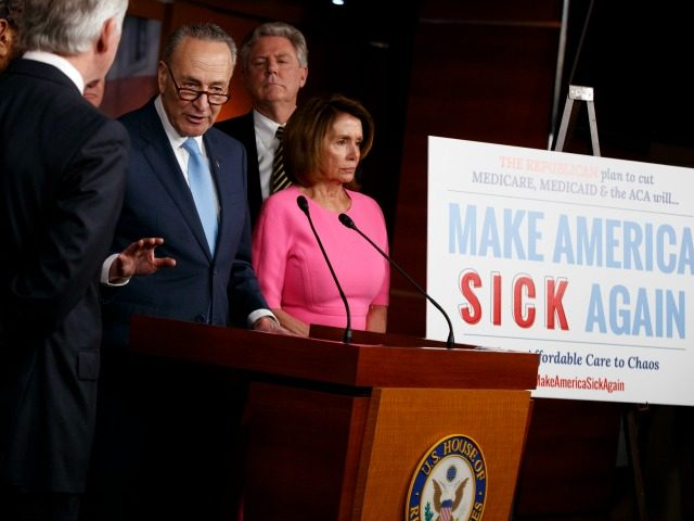 House Minority Leader Nancy Pelosi of Calif. listen at right as Senate Minority Leader Charles Schumer of N.Y., speaks during a news conference about President Barack Obama's signature healthcare law, Wednesday, Jan. 4, 2017, on Capitol Hill in Washington.