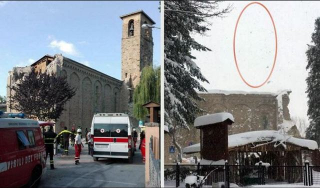 Amatrice bell tower before and after earthquakes.