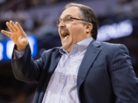 Detroit Pistons head coach Stan Van Gundy yells to his players during the first half of the NBA Eastern Conference quarterfinals against the Cleveland Cavaliers, on April 17, 2016 in Cleveland, Ohio