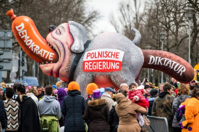 DUSSELDORF, GERMANY - FEBRUARY 27: A float featuring the polish government drives in the annual Rose Monday parade on February 27, 2017 in Dusseldorf, Germany. Political satire is a traditional cornerstone of the annual parades and the ascension of Trump to the U.S. presidency, the rise of the populist far-right across Europe and the upcoming national elections in Germany provided rich fodder for float designers this year. (Photo by Lukas Schulze/Getty Images)