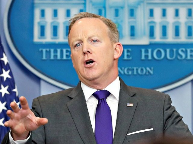 White House press secretary Sean Spicer speaks during the daily news briefing at the White House, in Washington, Tuesday, Feb. 7, 2017. Spicer discussed President Donald Trump's travel ban and other topics. (AP Photo/Carolyn Kaster)