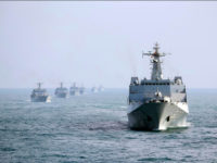 UNSPECIFIED, CHINA - FEBRUARY UNDATED: Landing ships of the People's Liberation Army Navy's South Sea Fleet drill in mid-February, 2017 in China. 10 landing ships of the PLA South Sea Fleet practise formation movement, formation defense, live fire of naval gun, joint search and rescue, simulated replenishment, air cushion getting in and out of mothership during a 5-day drill in mid-February. (Photo by Gu Yagen/CNSPHOTO/VCG)