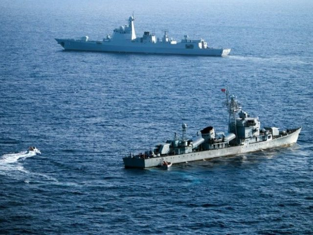 This photo taken on May 5, 2016 shows crew members of China's South Sea Fleet taking part in a drill in the Xisha Islands, or the Paracel Islands in the South China Sea