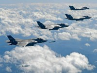 GANGWON-DO, SOUTH KOREA - SEPTEMBER 18: In this handout image provided by South Korean Defense Ministry, U.S. F-35B fighter jets drop GBU-32 bomb during a training at the Pilsung Firing Range on September 18, 2017 in Gangwon-do, South Korea. U.S. F-35B stealth jets and B-1B bombers flew near the Military Demarcation Line (MDL) for the first time since recent tension between U.S. and North Korea started raising. (Photo by South Korean Defense Ministry via Getty Images)