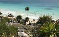 Tourists visit Tulum National Park in Mexico's Quintana Roo state, part of the so-called Riviera Maya, a stretch of pristine beaches on the country's southeastern coast