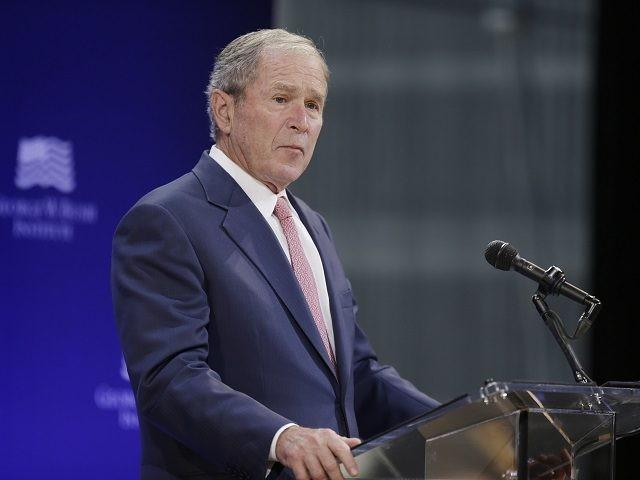 Former U.S. President George W. Bush speaks at a forum sponsored by the George W. Bush Institute in New York, Thursday, Oct. 19, 2017. (AP Photo/Seth Wenig)