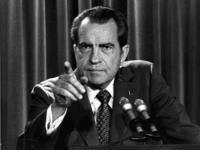 In this March 15, 1973, file photo President Nixon tells a White House news conference that he will not allow his legal counsel, John Dean, to testify on Capitol Hill in the Watergate investigation and challenged the Senate to test him in the Supreme Court. A feisty Nixon defended his shredded legacy and Watergate-era actions in grand jury testimony that he thought would never come out. On Thursday, Nov. 10, 2011, it did. (AP Photo/Charles Tasnadi, File)