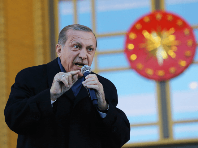 Turkish President Tayyip Erdogan gives a referendum victory speech to his supporters at the Presidential Palace on April 17, 2017 in Ankara Turkey. Erdogan declared victory in Sunday's historic referendum that will grant sweeping powers to the presidency, hailing the result as a 'historic decision. 51.4 per cent per cent …