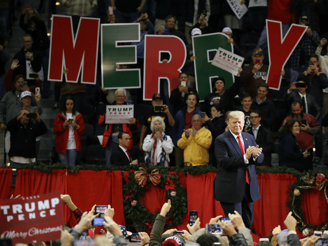 PENSACOLA, FL - DECEMBER 08: U.S. President Donald Trump walks on stage as he holds a rally at the Pensacola Bay Center on December 8, 2017 in Pensacola, Florida. Mr. Trump was expected to further endorse Alabama Republican Senatorial candidate Roy Moore who is running against Democratic challenger Doug Jones in the adjacent state. (Photo by Joe Raedle/Getty Images)