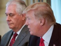 President Donald Trump, flanked by Secretary of State Rex Tillerson, told members of the UN Security Council at a White House luncheon on Monday that they should act to counter Iranian 'destabilization.'