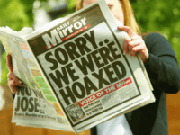LONDON ? MAY 15: The front page of London's Daily Mirror newspaper is seen in this photo illustration with a headline apologizing for running fabricated pictures purporting to show British soldiers abusing Iraqi prisoners ? a claim which forced the editor Piers Morgan to resign after it was refuted by the British Army May 14, 2004. (Photo by Scott Barbour/Getty Images)