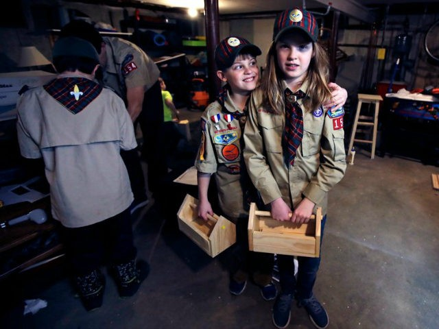 "In a Thursday, March 1, 2018 photo, Tatum Weir, right, poses with her twin brother Ian, left, after a cub scout meeting where they each built a tool box in Madbury, N.H. Fifteen communities in New Hampshire are part of an ""early adopter"" program to allow girls to become Cub Scouts and eventually Boy Scouts. The twins already are planning to become the first set of girl-boy siblings to become Eagle Scouts. (AP Photo/Charles Krupa)"