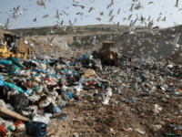 "In this Wednesday, Feb. 2, 2018 file photo, earthmovers push mountains of garbage as seagulls fly over the country's largest landfill at Fyli on the outskirts of Athens. The British government is planning a consultation about a possible bill to end the use of plastic straws, drink stirrers and cotton buds - and is urging other Commonwealth nations to ban the practice as well. Prime Minister Theresa May said Thursday, April 19, 2018 that ""plastic waste is one of the greatest environmental challenges facing the world."" (AP Photo/Thanassis Stavrakis, file)"