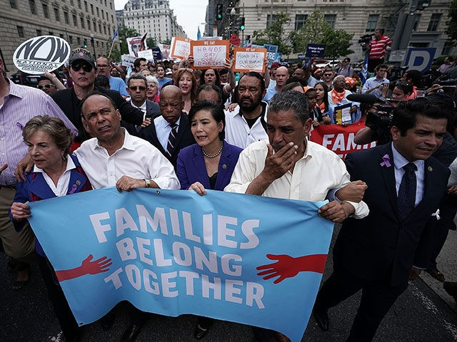 WASHINGTON, DC - JUNE 13: (L-R) U.S. Rep. Joseph Crowley (D-NY), Rep. Jan Schakowsky (D-IL), Rep. Luis Gutierrez (D-IL), Rep. John Lewis (D-GA), Rep. Judy Chu (D-CA) and Rep. Jimmy Gomez (D-CA) march to the headquarters of U.S. Customs and Border Protection during a protest June 13, 2018 in Washington, …