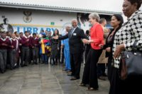 Britain's Prime Minister Theresa May danced during an official visit to South Africa but her moves have received mixed reviews