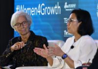 IMF chief Christine Lagarde (L) and Indonesian Finance Minister Sri Mulyani Indrawati are among growing numbers of women in top finance and economic positions