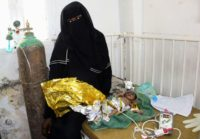 A newborn baby girl suffering from severe malnutrition at a hospital in Yemen's northwestern Hajjah province