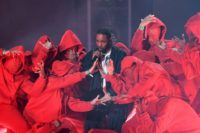 Kendrick Lamar, pictured at the 2018 Grammy Awards, is up for the coveted Album of the Year prize again after three prior losses