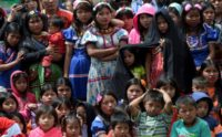 Colombian Embera indigenous women and children who were displaced by the armed conflict and resettled in Bogota