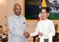 India's President Shri Ram Nath Kovind was greeted with the full pomp and circumstance of a guard of honour before meeting Myanmar's civilian leader Aung San Suu Kyi