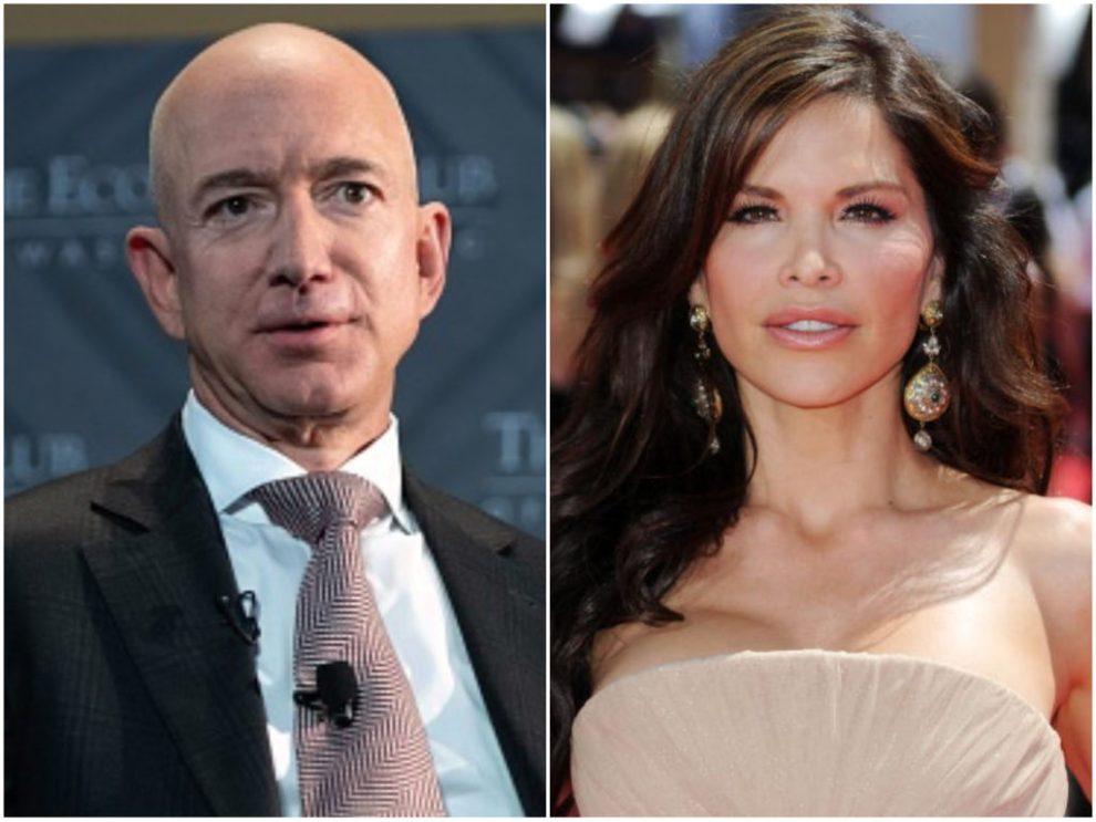 Jeff Bezos and Lauren Sanchez. (Saul Loeb, Frazer Harrison/Getty Images)